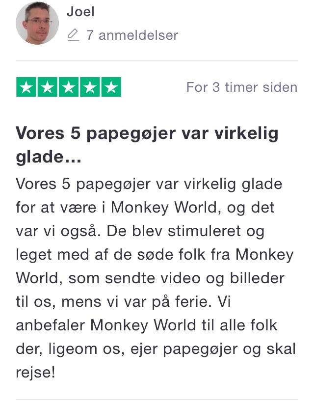 Trustpilot Monkey World Hillerød