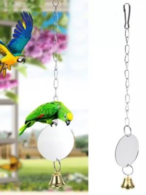 Rundt spejl med klokke til fugle