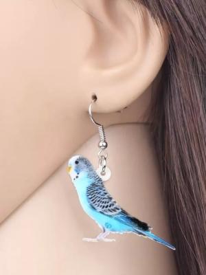 Blå undulat øreringe