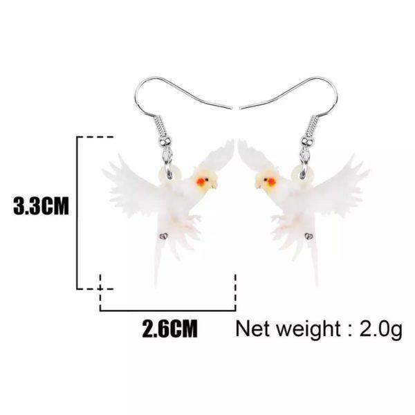 Hvide Nymfeparakit øreringe