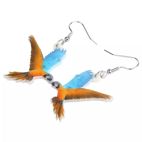 Øreringe med blå gul ara